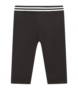 GIVENCHY KIDS Black leggings with white logo
