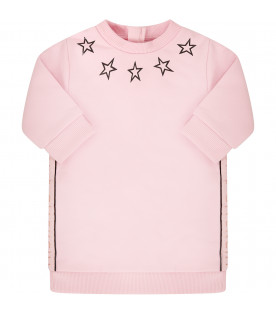 GIVENCHY KIDS Pink dress with black stars