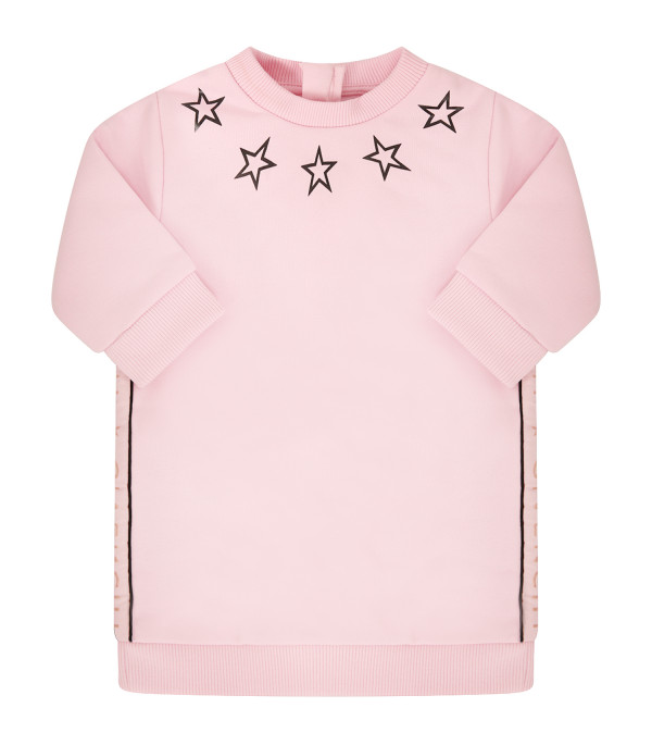 GIVENCHY KIDS Abito rosa con stelle nere