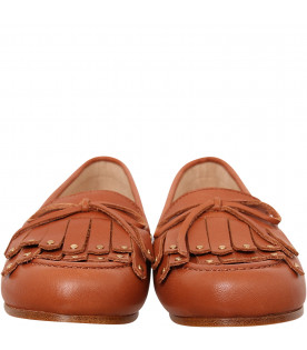 CHLOÉ KIDS Brown moccasin with fringe