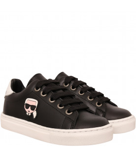 KARL LAGERFELD KIDS Black sneaker with colorful patch