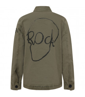 ZADIG & VOLTAIRE KIDS Military green boy shirt with balck logo