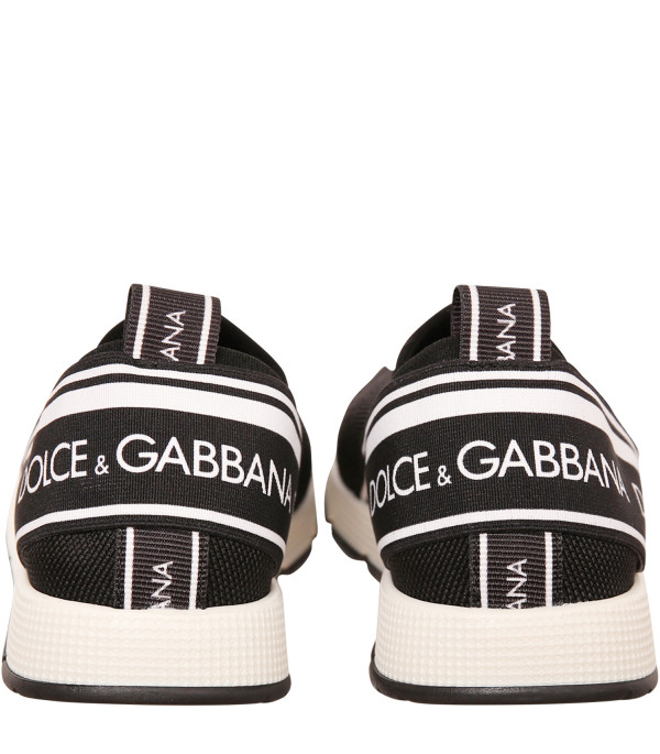 DOLCE & GABBANA KIDS Black sneaker with white and black logo