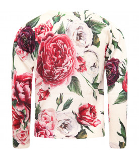 DOLCE & GABBANA KIDS White girl cardigan with colorful roses
