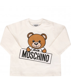 MOSCHINO KIDS T-shirt bianca con Teddy Bear colorato