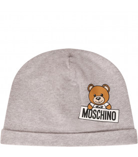 MOSCHINO KIDS Cappello grigio con Teddy Bear