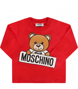 MOSCHINO KIDS Red T-shirt with colorful Teddy Bear