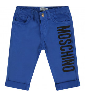 MOSCHINO KIDS Blue pants with colorful Teddy Bears