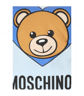 MOSCHINO KIDS Light blue blanket with teddy Bear and blue heart