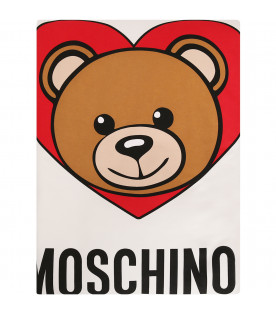 MOSCHINO KIDS White blanket with teddy Bear and red heart