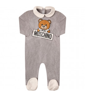 MOSCHINO KIDS Grey babygrow with colorful Teddy Bear
