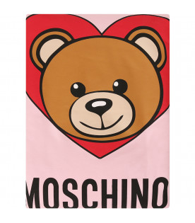 MOSCHINO KIDS Pink blanket with teddy Bear and red heart