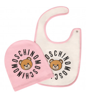 MOSCHINO KIDS Set bianco e rosa con Teddy Bear