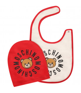 MOSCHINO KIDS White and red set with Teddy Bear