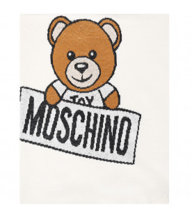 MOSCHINO KIDS Ivory blanket with Teddy Bear
