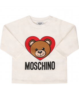 MOSCHINO KIDS White T-shirt with colorful Teddy Bear with heart