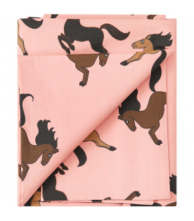 MINI RODINI Pink baby bed set with horses