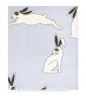MINI RODINI Light blue baby bed set with colorful rabbits