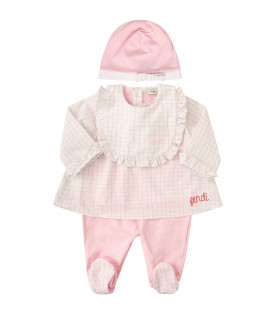 FENDI KIDS Pink and white set with checked detail