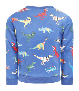 PAUL SMITH JUNIOR Felpa bambino blu con dinosauri colorati