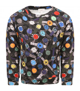 Black boy sweatshirt with colorful watches