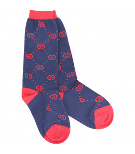 Blue socks with red detail