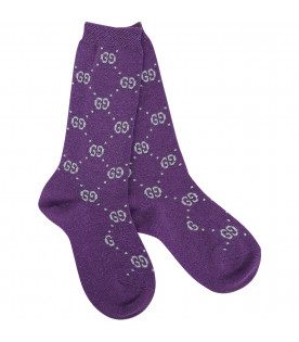 GUCCI KIDS Purple socks with iconic GG