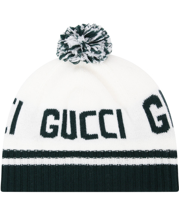 GUCCI KIDS Ivory hat with green logo