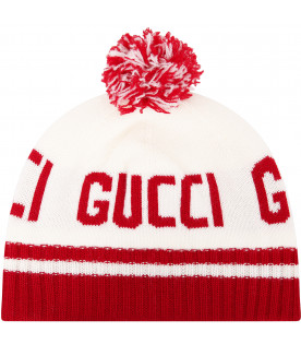 GUCCI KIDS Ivory hat with red logo