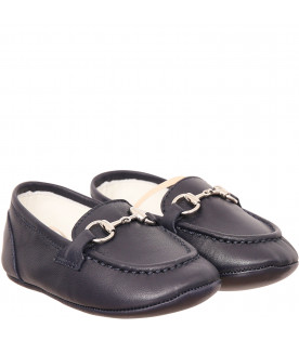GUCCI KIDS Mocassino blu con morsetto