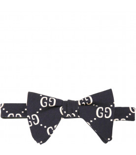 GUCCI KIDS Blue bow tie with iconic GG