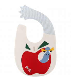 FENDI KIDS White bib with red apple