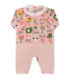 FENDI KIDS Set rosa con funghi colorati e logo nero