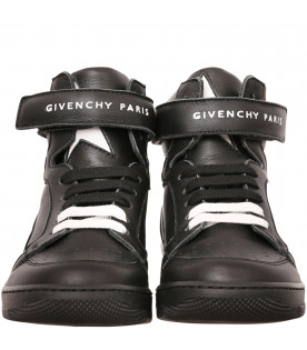 GIVENCHY KIDS Black sneakers with white star