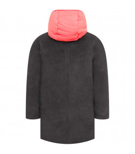 PAUL SMITH JUNIOR Black and red boy jacket with overcoat and gilet