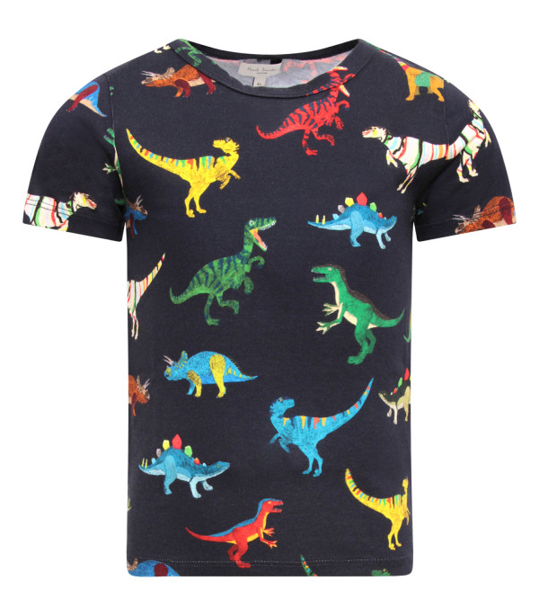 PAUL SMITH JUNIOR T-shirt bambino blu con dinosauri colorati