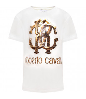 ROBERTO CAVALLI KIDS White girl T-shirt with leopard iconic logo