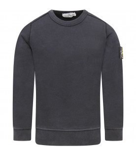 STONE ISLAND JUNIOR Blue boy sweatshirt with compass