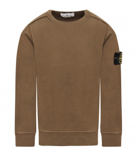 STONE ISLAND JUNIOR Military green boy sweatshirt with compass