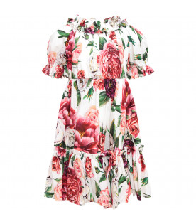 DOLCE & GABBANA KIDS White gilr dress with peonies