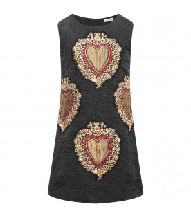 DOLCE & GABBANA KIDS Black girl dress with holy heart
