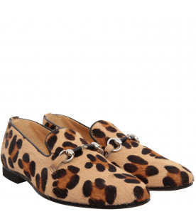 GALLUCCI KIDS Tigerskin moccasin