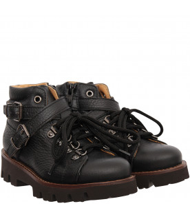 GALLUCCI KIDS Black ankle boot with silver buckles