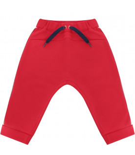 FENDI KIDS Red sweatpants with blue iconic double FF