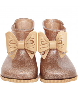 MINI MELISSA Gold boot flats with beige bow