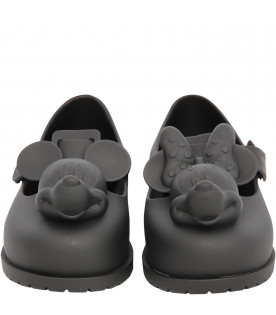 MINI MELISSA Black ballerina flats with Minnie and Mickey Mouse
