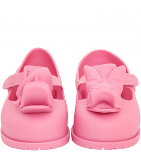 MINI MELISSA Pink ballerina flats with Donald and Daisy Duck