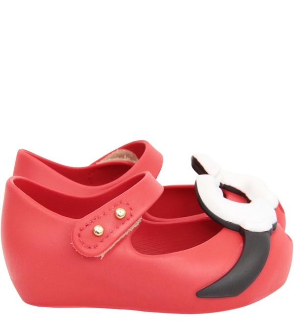 MINI MELISSA Red ballerina flats with Mickey and Minnie Mouse's hands