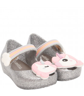 MINI MELISSA Silver ballerina flats with colorful unicorn