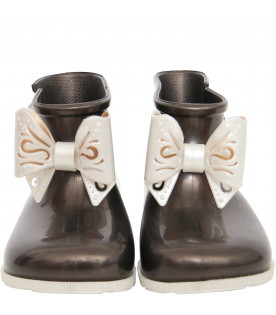 MINI MELISSA Black boot flats with off white bow